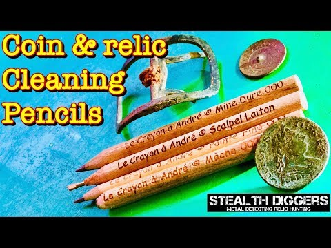 Coin & Relic cleaning review with Andre's pencil set Le Crayon a Andre metal detecting collecting