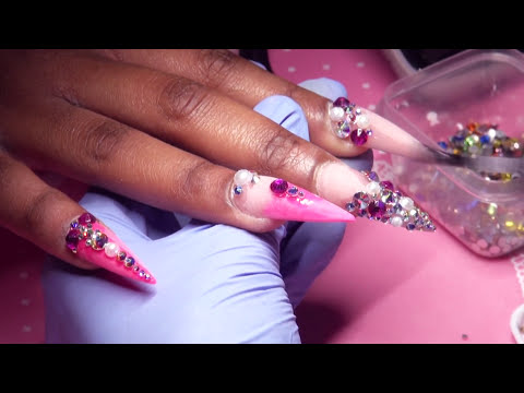 Hot Pink and Nude Bling Acrylic Nails Full Set