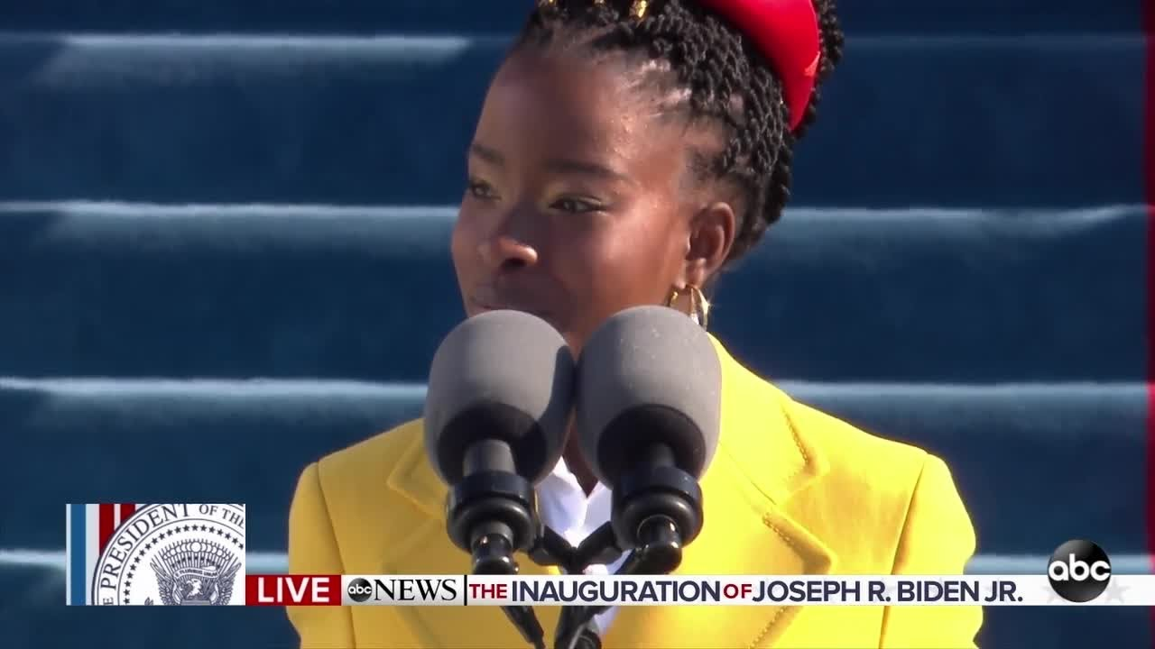 Amanda Gorman reads a poem at inauguration
