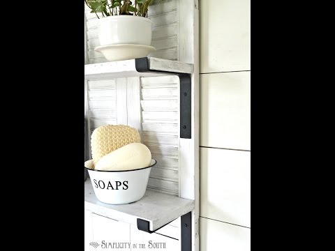 How to Make Industrial Farmhouse Metal Shelf Brackets For a Ballard Designs Inspired Shutter Shelf