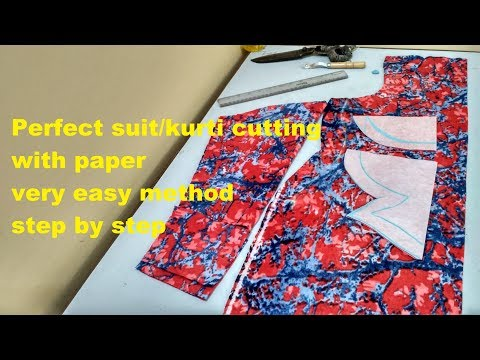 How to cut suit/ kurti/kurta/kameez with pettern step by step