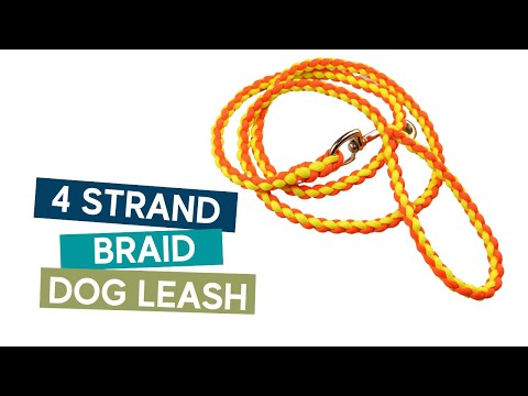 How to make a 4 strand braid dog leash  easy tutorial.