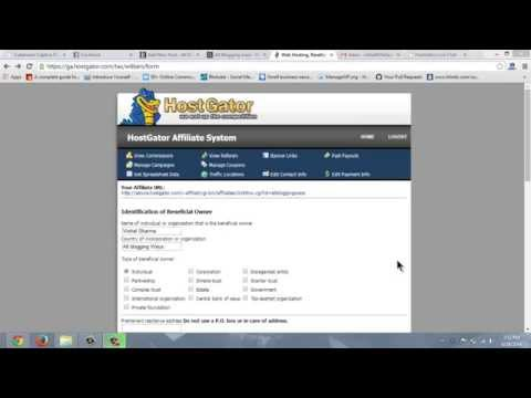 How to fill Hostgator W8-BEN tax form for non-US individuals