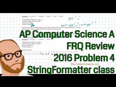 Computer Science A 2016 FRQ Problem 4