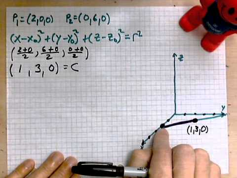 virtuallymath.com: equation of sphere from diameter