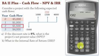 Ba Ii Plus Cash Flows Net Present Value Npv And Irr Calculations