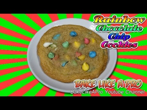 Easy Rainbow Chocolate Chip Cookies recipe !