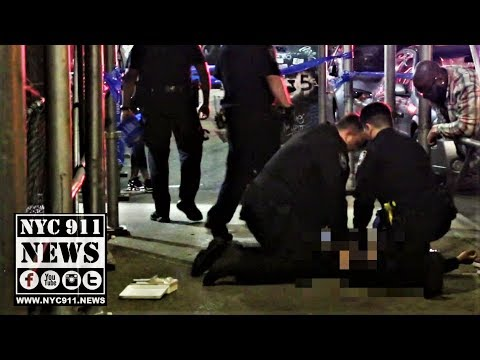 NYPD PSA6 officers performing CPR on man shot