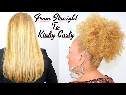 How To Make Straight Hair Beautiful Tight Kinky Curly / Spiral Afro Puff Bun Straw Set Tutorial