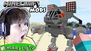 Minecraft Mods! SPACE CREATURES + GIANT ROBOTS. Dream Craft Fun HobbyPigTV