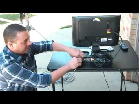 6. Connecting the Dish to the Receiver - TR-6100 Winegard Portable Satellite Dish & Tripod Kit