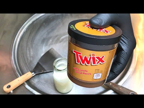TWIX Ice Cream Rolls | how to make Ice Cream with TWIX - Recipe / Chocolate Caramel Ice Cream | ASMR