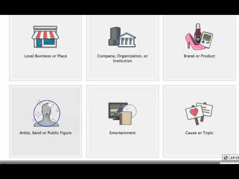 Facebook Iframes Fan Page - Create a Facebook Page - What type are you? (Video 5)