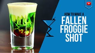 How to make a Fallen Froggie Shot For full Cocktail Recipe details visit: http://www.drinklab.org/fallen-froggie-shot/  Ingredients to make a Fallen Froggie Shot Cocktail 3/4 oz Melon Liqueur 1/4 oz Irish Cream 2-5 Drops Grenadine  Directions: Fill your Shot glass 3/4 with Melon Liqueur, layer your irish cream ontop then add 2-5 drops of grenadine for the blood effect. . We present to you the Fallen Froggie Cocktail. Served in a Shot Glass    Become a Drink Buddy: http://www.drinklab.org/drinkbuddy.php For more cocktails visit - http://www.drinklab.org Twitter: http://www.twitter.com/drinklab Facebook: http://www.facebook.com/drinklab Instagram: http://www.instagram.com/drinklabcocktails Pinterest: http://www.pinterest.com/drinklab Google Plus: http://plus.google.com/112352858450528206721 Youtube: http://www.youtube.com/cocktailrecipes  Follow Scotty Boxa on: YouTube: http://www.youtube.com/ScottyBoxaTV Facey: http://www.facebook.com/ScottyBoxa Twitter: http://www.twitter.com/ScottyBoxa Instagram: http://www.instagram.com/ScottyBoxa or his website http://www.scottyboxa.com  #Cocktails #CocktailRecipes #CocktailRecipe #Drinks #DrinkLab #Alcohol #Mixology #bartender #Alcohol #Mixologist #Halloween #Midori #IrishCream #FallenFroggie #Shot
