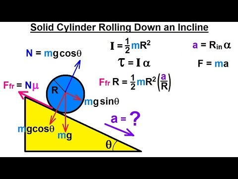 Physics - Application of the Moment of Inertia (3 of 11) Solid Cylinder Rolling Down an Incline