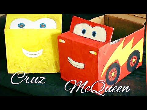 Cardboard car for Kids🚘DIY DisneyCars CruzRamirez & McQueen🚗Ideas to keep kids engaged ToysStorage