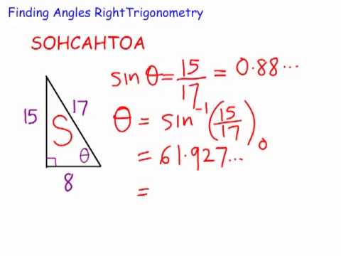 Finding angles in right angled triangles