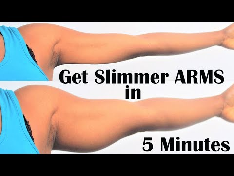 how to get smaller & slim  arms |5 easy exercises for arms | tricep exercises for toned arms