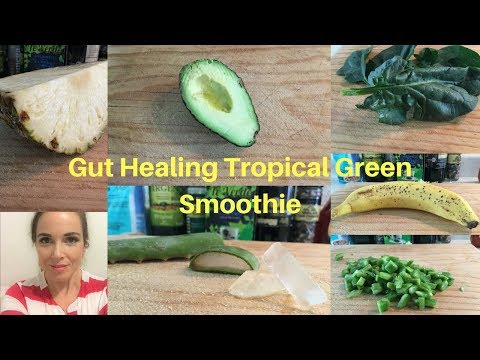 Gut Healing Tropical Green Smoothie Shake  for IBD UC IBS Crohns