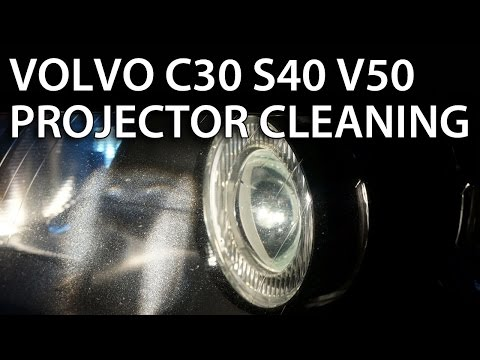 Headlights projector lens disassemble and cleaning in Volvo V50 S40 C30 C70 (halogen xenon bixenon)