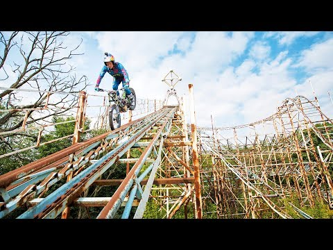 Dougie Lampkin's Last Joyride in an abandoned theme park.