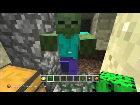 Minecraft PS3/Xbox DUNGEON in VILLAGE w SADDLE MUSIC DISC 13! SEED