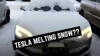 READ DESCRIPTION FIRST!Tesla app preheating cabin and melting snow
