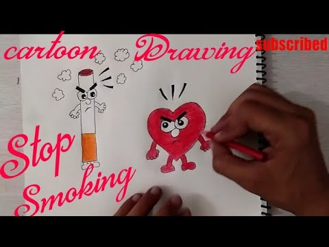 How To Draw Stop Smoking coloring poster step by step || No Smoking stickers ||
