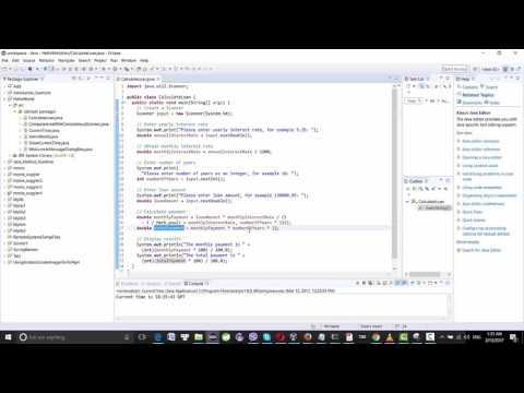 Java example: Calculate a loan to know monthly payment and total payment