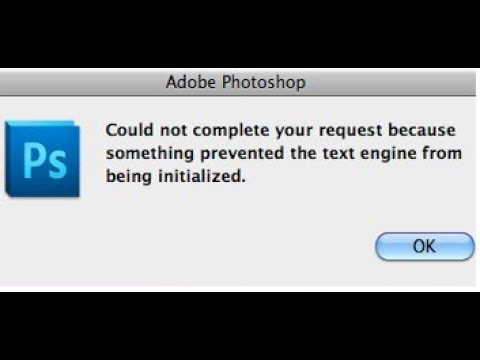 Text Engine error using Type tool in Photoshop CC