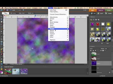 Creating a space scape in Photoshop Elements.