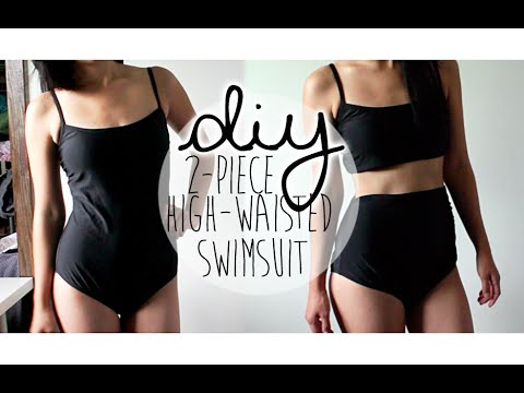 DIY: Upcycle Retro 2-piece High-waisted Swimsuit (NO-SEW!)