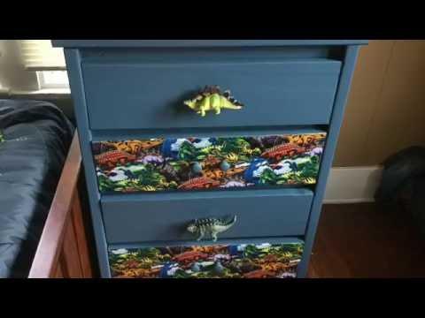 DIY How to / Makeover paint mod podge little boy's wood dresser dinosaur fabric
