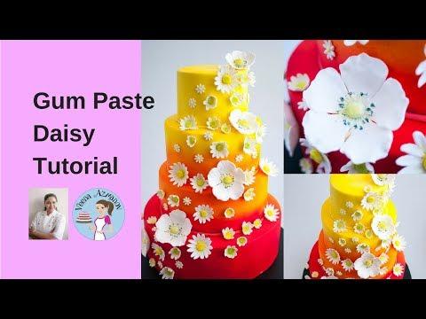 How to make a Gum Paste Daisy - Gumpaste Daisy Tutorial | Sugar Daisy