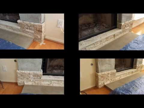 How to build a stone veneer fireplace with wood mantel