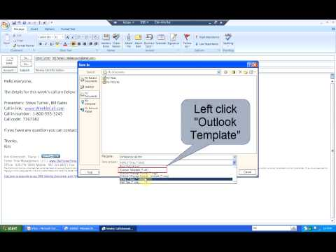 How to Create and Use an e-mail Template (Outlook 2007)