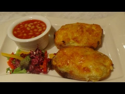 Stuffed Jacket Potatoes with Baked Beans and Salad