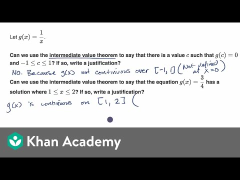 Example justifying intermediate value theorem for a function defined by an equation