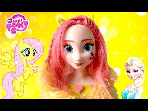 FROZEN ELSA MAKEOVER MY LITTLE PONY FLUTTERSHY HOW TO PAINT PRINCESS STYLING HAIR MAKEUP TUTORIAL