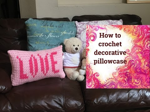 How to crochet LOVE decorative pillowcase