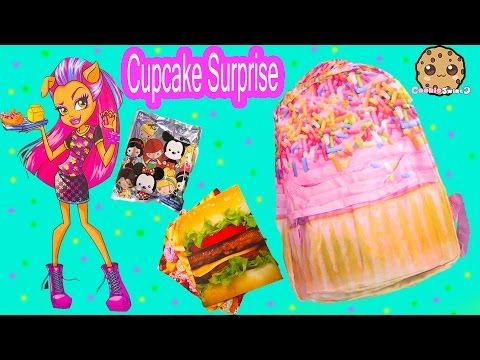 Large Cupcake School Backpack Surprise + Toy Unboxing Video with Blind Bag + Scented Markers