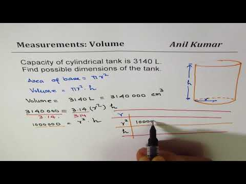 How to find dimensions of  cylinder for 3140 L volume