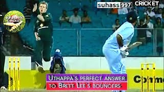 3 NO BALLS and Lee forgets how to bowl ! ROBIN UTHAPPA