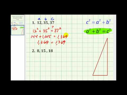 Example:  Determine if a Triangle is a Right Triangle Given the Length of 3 Sides