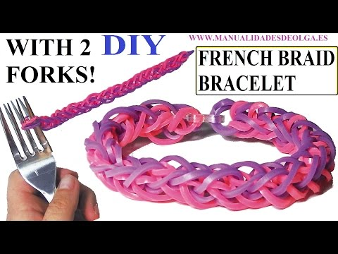 HOW TO FRENCH BRAID BRACELET WITH 2 FORKS. WITHOUT RAINBOW LOOM