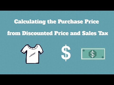 Calculate Purchase Price from Discount Price and Sales Tax