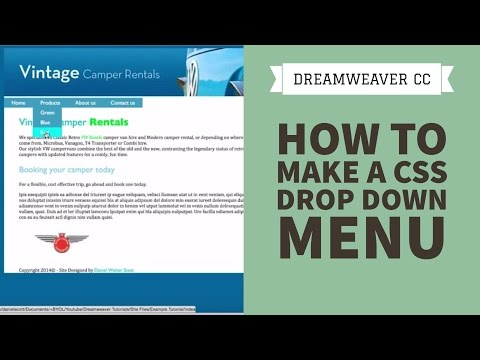 How to make a CSS drop down menu in Dreamweaver CC [33/34]