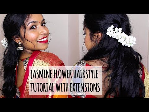 Half Up Half Down with Hair Extensions & Jasmine Flowers/Gajra Hairstyle for Tamil Hindu Wedding