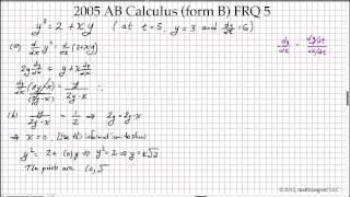 2005 AP Calculus AB Free-Response Question (Form B) - Question #4 ...