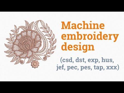 Monochrome flower. Machine embroidery design (emb, csd, dst, exp, hus, jef, pec, pes, tap, xxx)